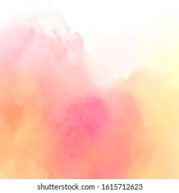 Pink-yellow watercolor background. Delicate peach color. Watercolor background for romantic, wedding card, invitation.