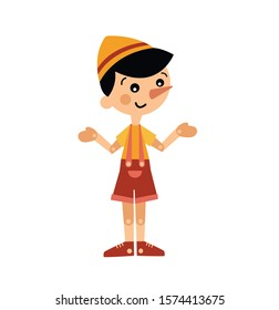 Pinocchio character.Cute wooden puppet boy vector illustration isolated on white background.Children illustration.