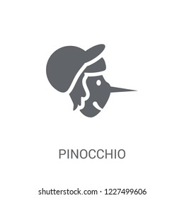 Pinocchio icon. Trendy Pinocchio logo concept on white background from Fairy Tale collection. Suitable for use on web apps, mobile apps and print media.