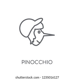 Pinocchio linear icon. Modern outline Pinocchio logo concept on white background from Fairy Tale collection. Suitable for use on web apps, mobile apps and print media.