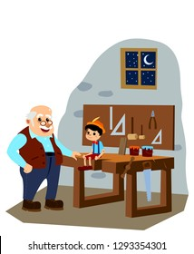 Pinocchio and Master Gepetto in the Carpenter Atelier. White Background Isolated