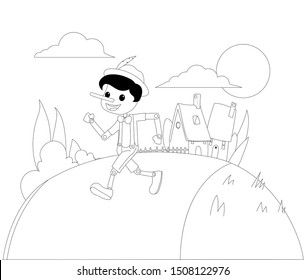 Pinocchio Tale Black and White Vectoral Illustration. For Children Book Covers, Magazines, Web Pages.