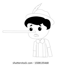 Pinocchio Tale Black and White Vectoral Illustration. Long Nose. For Children Book Covers, Magazines, Web Pages.