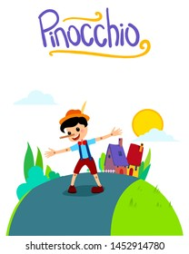 Pinocchio Tale Vector Illustration Book Cover with Handmade Font. For Children Books, Magazines, Web Pages.