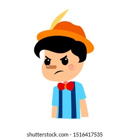 Pinocchio Tale Vectoral Illustration. Angry Face. For Children Book Covers, Magazines, Web Pages.