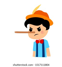 Pinocchio Tale Vectoral Illustration. Angry Face and Long Nose. For Children Book Covers, Magazines, Web Pages.