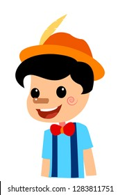 Pinocchio Tale Vectoral Illustration. Short Nose. For Children Book Covers, Magazines, Web Pages.