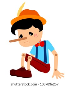 Pinocchio Tale Vectoral Illustration. Unhappy Long Nose Pinocchio Sitting. For Children Book Covers, Magazines, Web Pages.