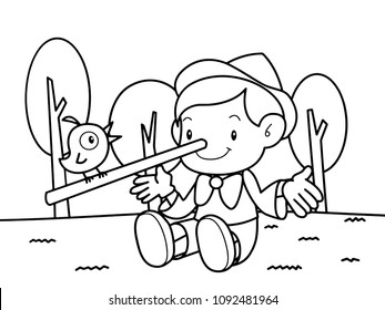 Pinocchio is telling with a bird on the grass without color