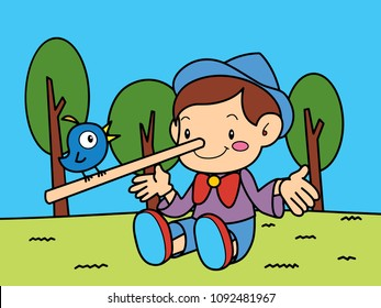 Pinocchio is telling with a bird on the grass