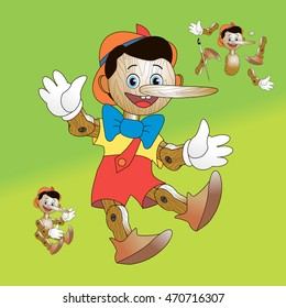 Pinocchio; Wooden toy to take apart vector