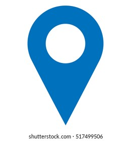 Pinpoint blue and white isolated icon. Pin point sign. Pinpoint symbol for website, gps navigator, apps, business card.