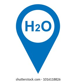 Pinpoint water H2O icon, map point blue isolated icon with H2O symbol, vector illustration.