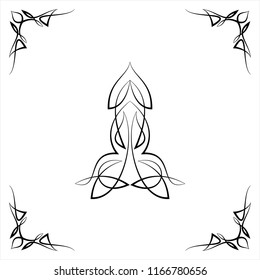 Pinstripe Centre Piece With Corner Design, Center Piece Vector Art Illustration