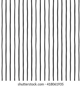 Pinstripes vector seamless pattern. Black stripes. Thin uneven lines on white backdrop. Striped monochrome background. Free hand drawn bars. Doodle style streaks pattern.