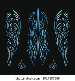 Pinstriping motorcycle and car blue color design vintage hand drawn vector
