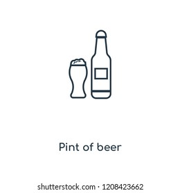 Pint of beer concept line icon. Linear Pint of beer concept outline symbol design. This simple element illustration can be used for web and mobile UI/UX.