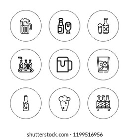Pint icon set. collection of 9 outline pint icons with beer icons. editable icons.