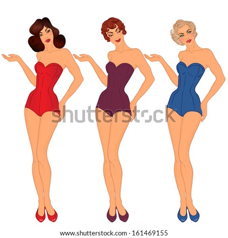 Pinup  3 sexy ladies in swimsuits. Style of 1950s. Vector illustration  isolated on a8b5518c7afc