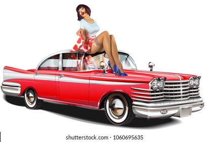 Rockabilly girls bent over cars are