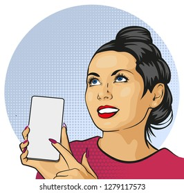 Pinup girl with Smartphone. Beautiful woman showing on the display of her phone. Vector illustration