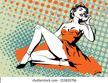 Pin-up girl talking phone on halftone background