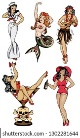 Pin-up girls Retro Sailor Tattoo style