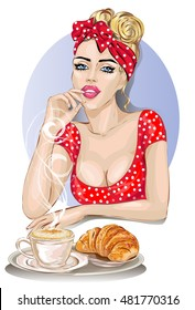 Pin-up housewife woman in red dress with breakfast, coffe and croissant. Housekeeping, sexy wife, hand drawn vector illustration background