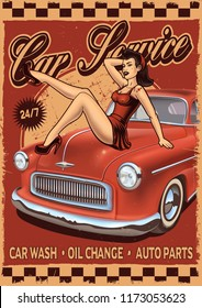 Pin-up retro poster with girl and classic car. Vintage car sign.