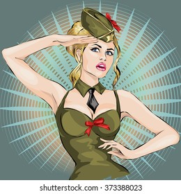 Pin-Up Sexy girl in military uniform saluting 23 February men's day vector illustration