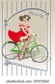 pin-up sexy girl rides bicycle bike