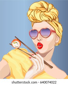 Pin-up style sexy woman eating sushi, japanese food. Pop Art girl, heart sunglasses, vector illustration