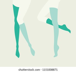 Pinup women legs set in mismatching socks and stockings in green and blue, collection of vector illustrations in mid century pop art poster style