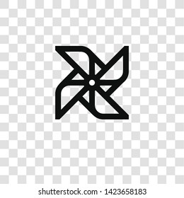 pinwheel icon from miscellaneous collection for mobile concept and web apps icon. Transparent outline, thin line pinwheel icon for website design and mobile, app development