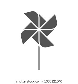 The pinwheel logo flat design vector illustrations. Two variants in black and in colors isolated on a white background.