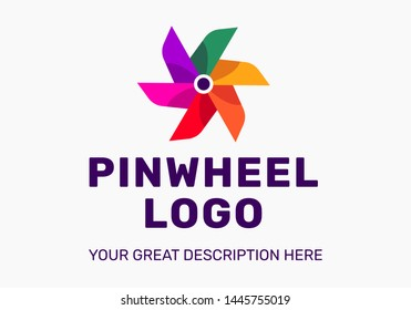The pinwheel logo flat design vector illustrations. TBright coolored logo. Summer style.
