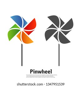 The pinwheel logo flat icon vector illustrations.