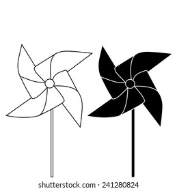 PINWHEEL OUTLINE AND SILHOUETTE illustration vector