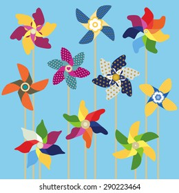 Pinwheels collection on sky blue background