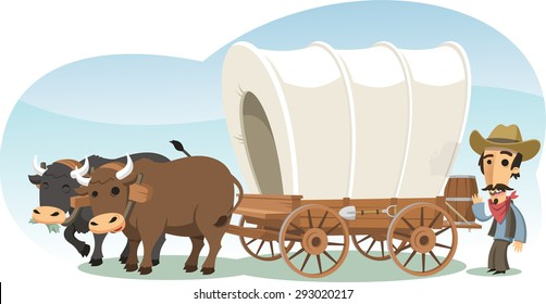Pioneer with animal drawn wagon, vector cartoon illustration