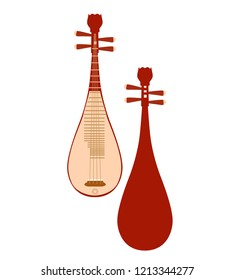Pipa, Chinese Traditional Instrument Front & Back - Vector Illustration Isolated Icon