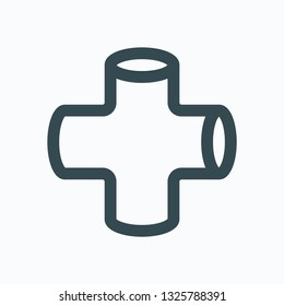 Pipe cross isolated icon, tube cross steel vector icon