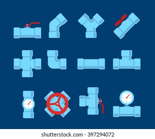 Pipe fitting vector set.