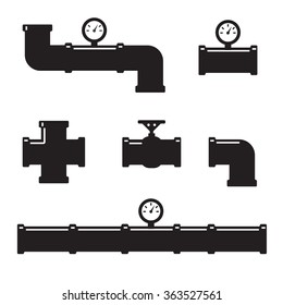 Pipe fittings vector icons set. Tube industry, construction pipeline, drain system