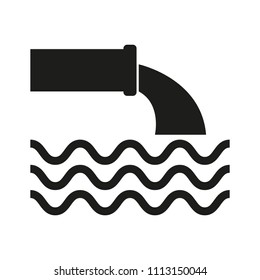 From the pipe flowing liquid into the river, black on white background, vector