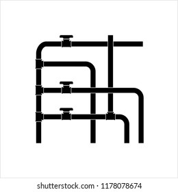 Pipe Icon, Plumbing Work, Gas,, Air, Water, Oil, Liquid Pipeline Vector Art Illustration