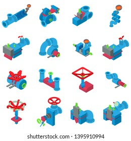 Pipe icons set. Isometric set of 16 pipe vector icons for web isolated on white background