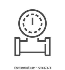 Pipe and meter vector icon.