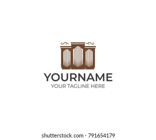 Pipe organ logo template. musical instrument vector design. Musical object illustration