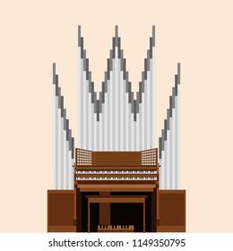 Pipe organ vector illustration